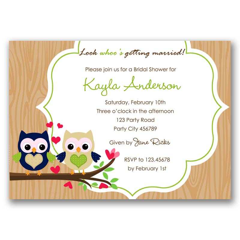 Owl Bridal Shower Invitation / Wedding Invite