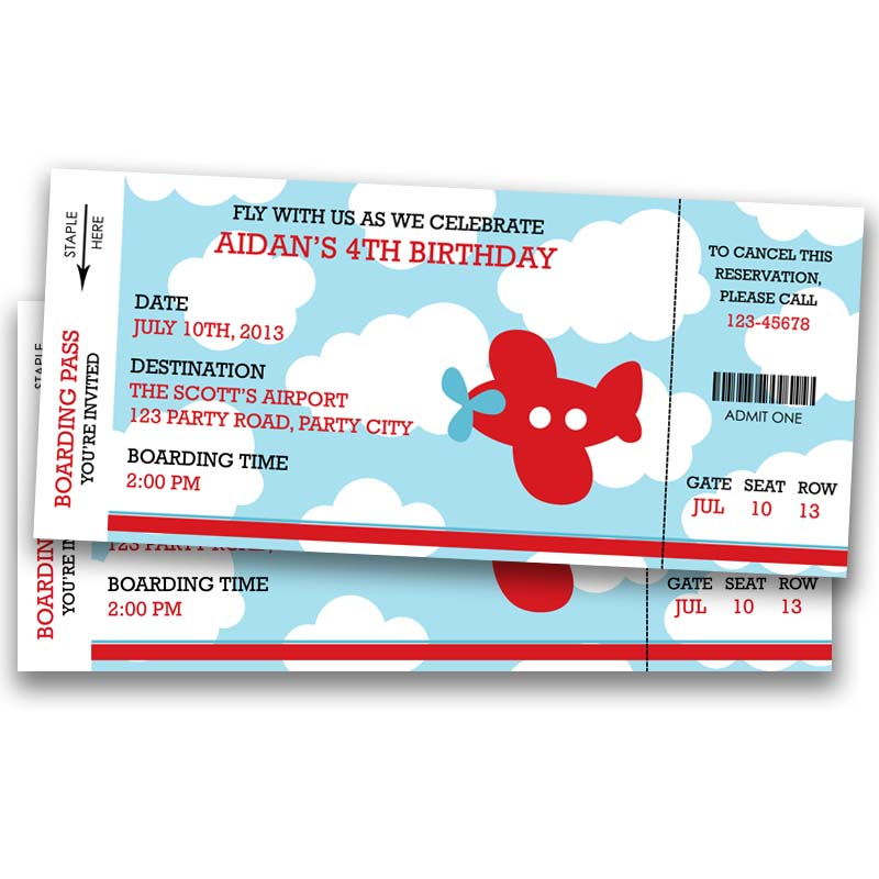 Airplane Ticket Boarding Pass Birthday Invitation: Airplane Boarding Pass Ticket Birthday Invitation (Blue