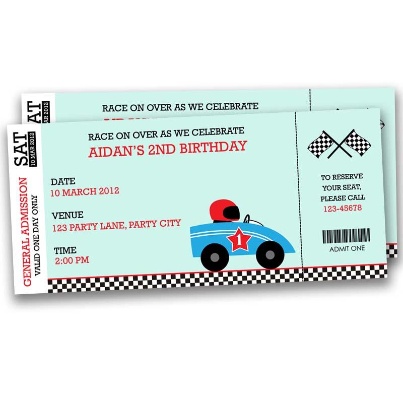 Race Car Ticket Birthday Invitation