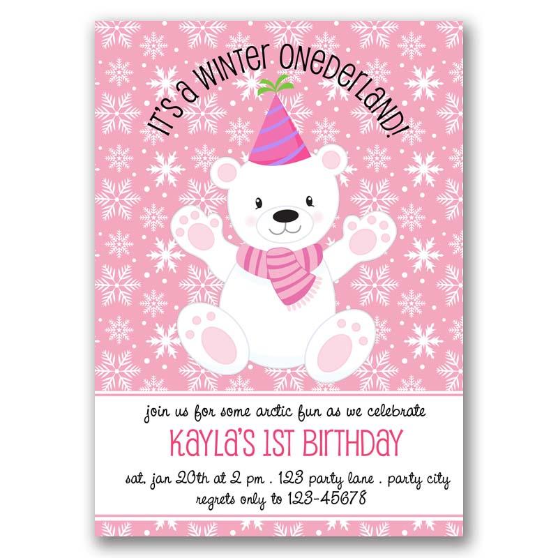 Polar Bear Birthday Invitation (Winter Onederland)