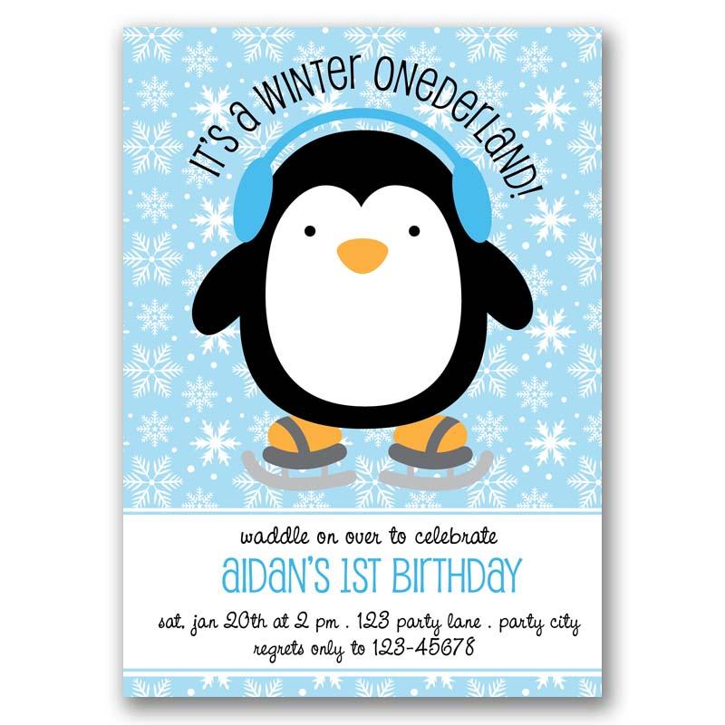 Penguin Birthday Invitation Winter Onederland Callachic