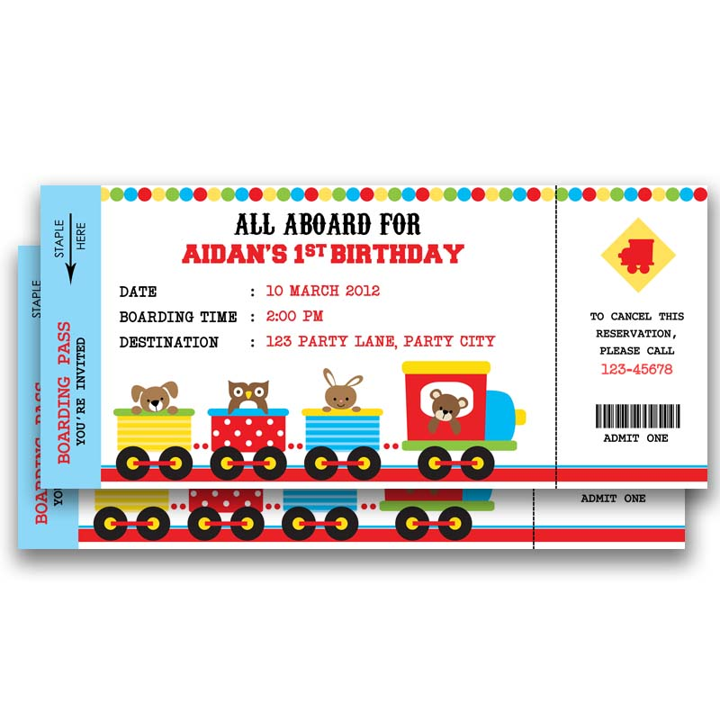 Animal Train Ticket Birthday Invitation Callachic