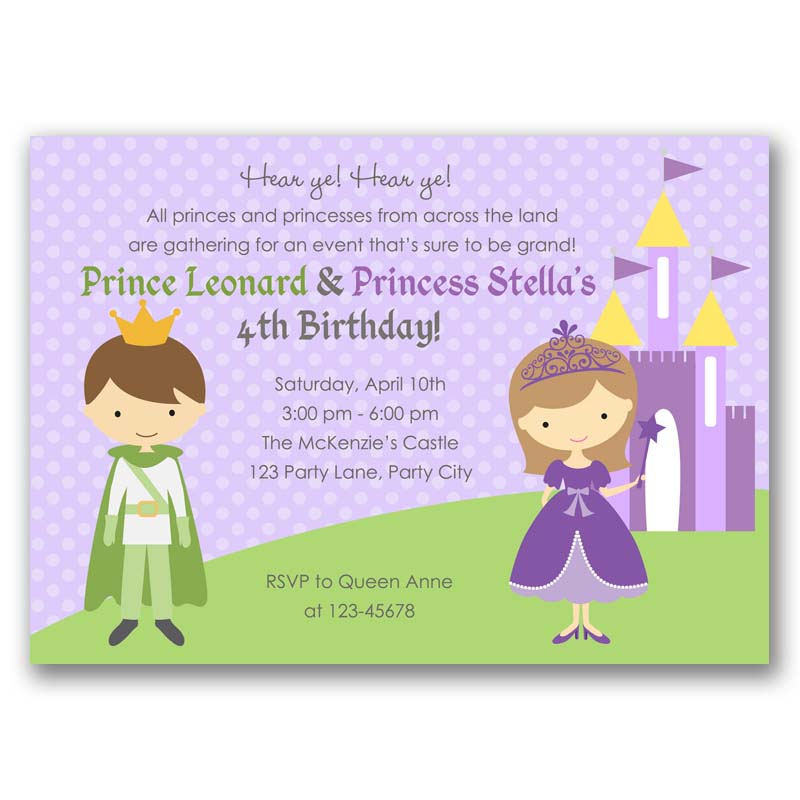 Purple Princess Prince Birthday Invitation Callachic
