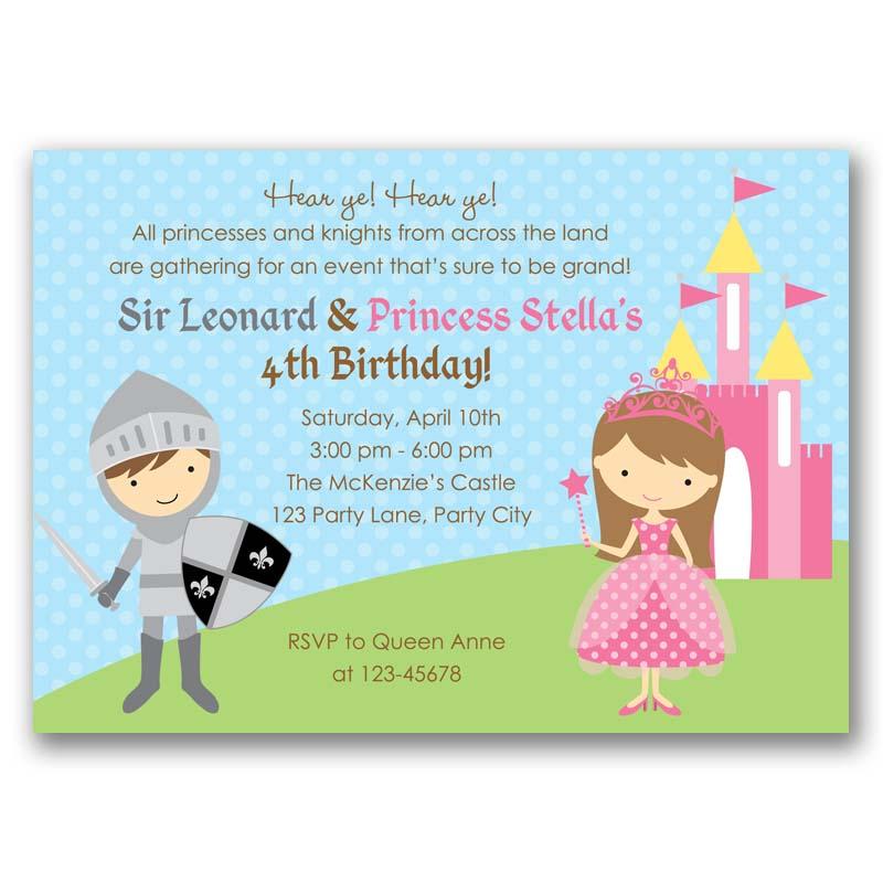 Princess and Knight Birthday Invitation (Printable / Printed ...