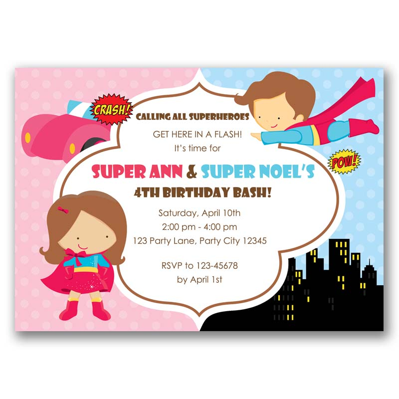Superheroes Boy And Girl Birthday Invitation Split Joint Twin