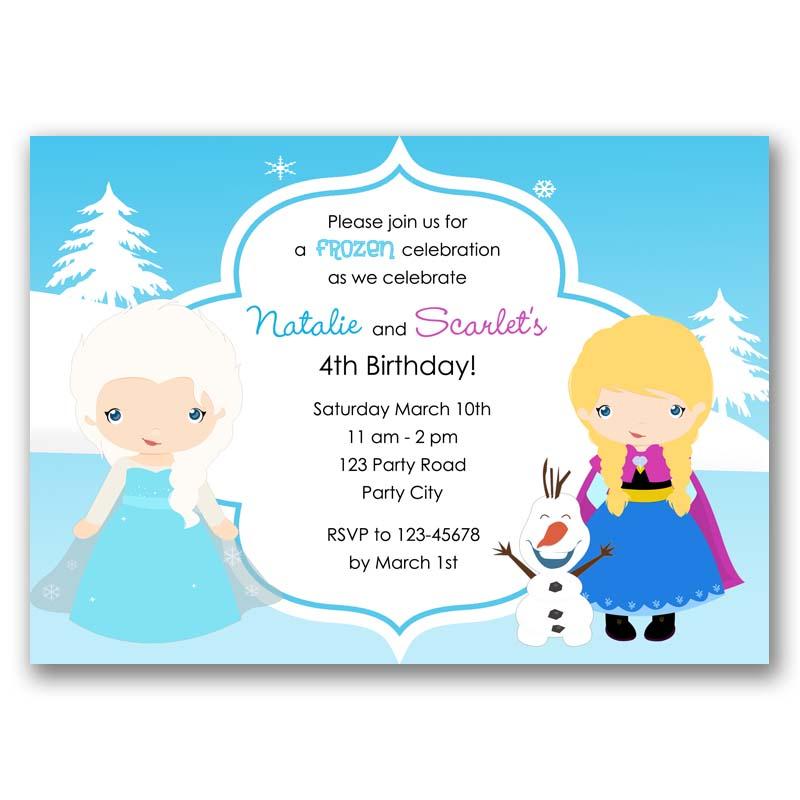 Frozen Birthday Invitation Elsa Anna Olaf Inspired