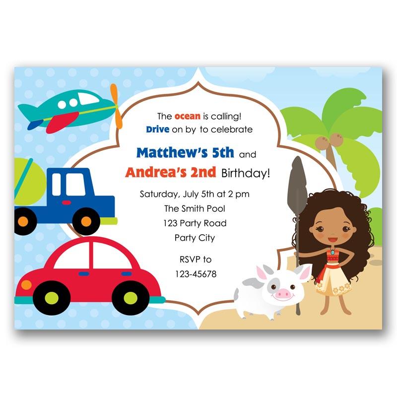 Transportation Moana Birthday Invitation