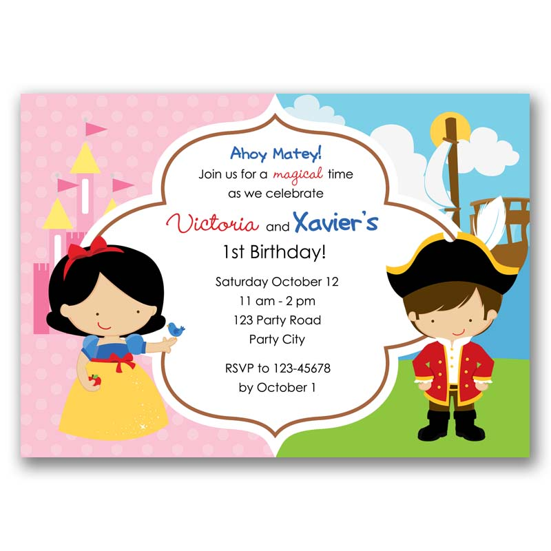 Pirate and Snow White Princess Birthday Invitation (Split / Joint ...