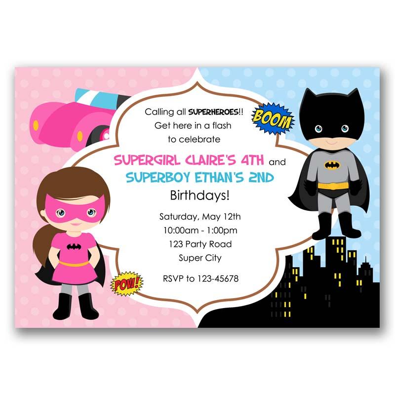 batman and batgirl inspired superheroes birthday invitation split