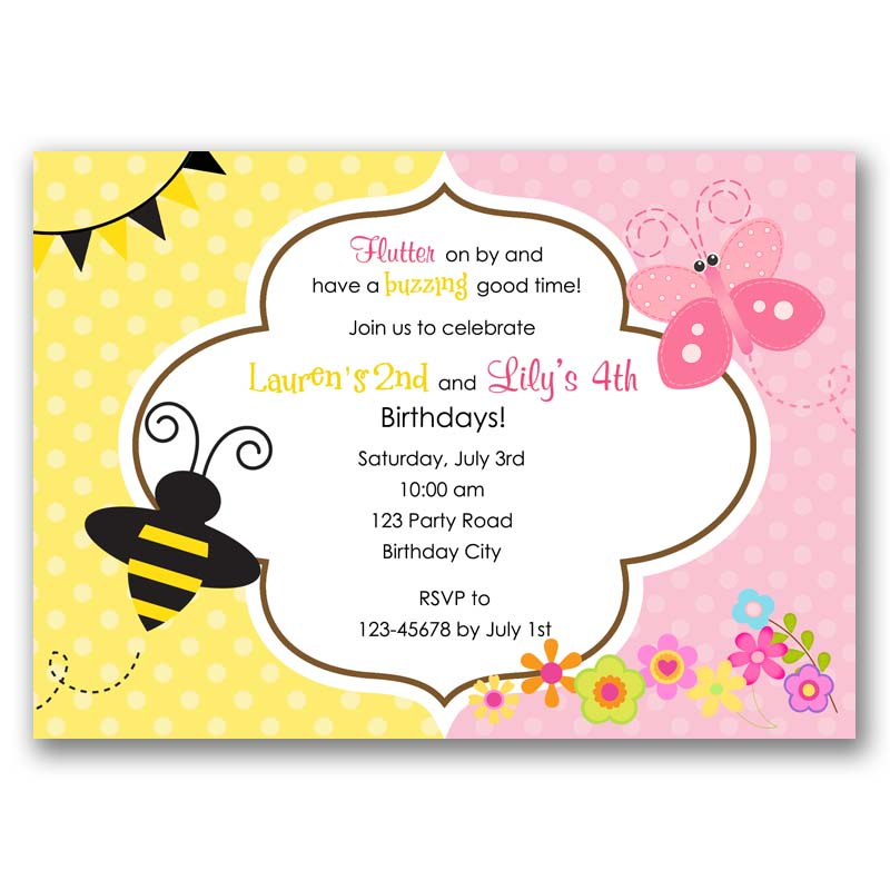 Bee And Butterfly Garden Birthday Invitation Split Joint Twin