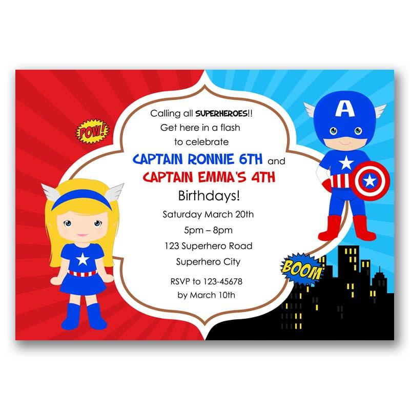 Captain America Inspired Boy And Girl Birthday Invitation Split Joint Twin