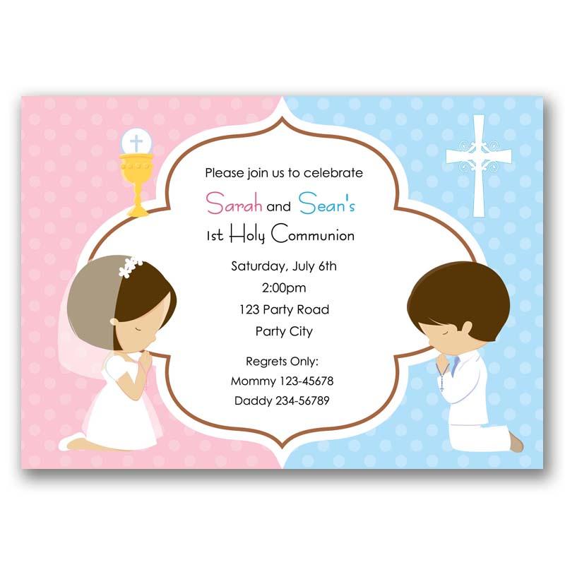 First Holy Communion Invitation Boy Girl Callachic