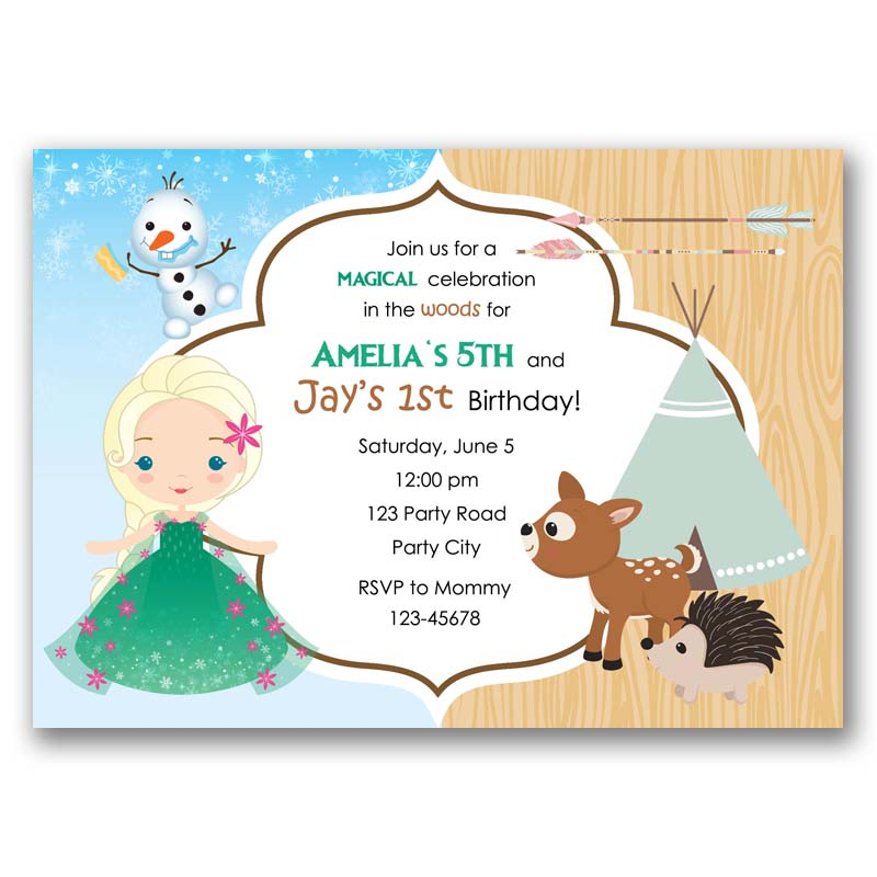 Frozen fever woodlands tribal birthday invitation arrow frozen fever woodlands tribal birthday invitation stopboris Gallery