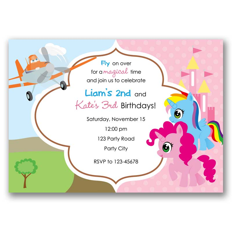 My Little Pony And Disney Planes Inspired Birthday Invitation