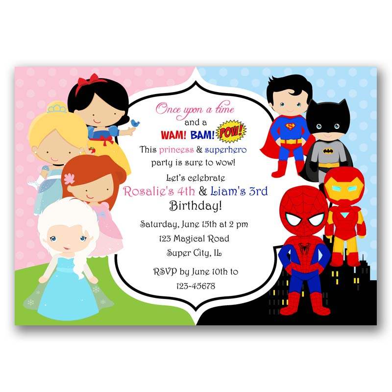 Famous Princesses And Superheroes Birthday Invitation