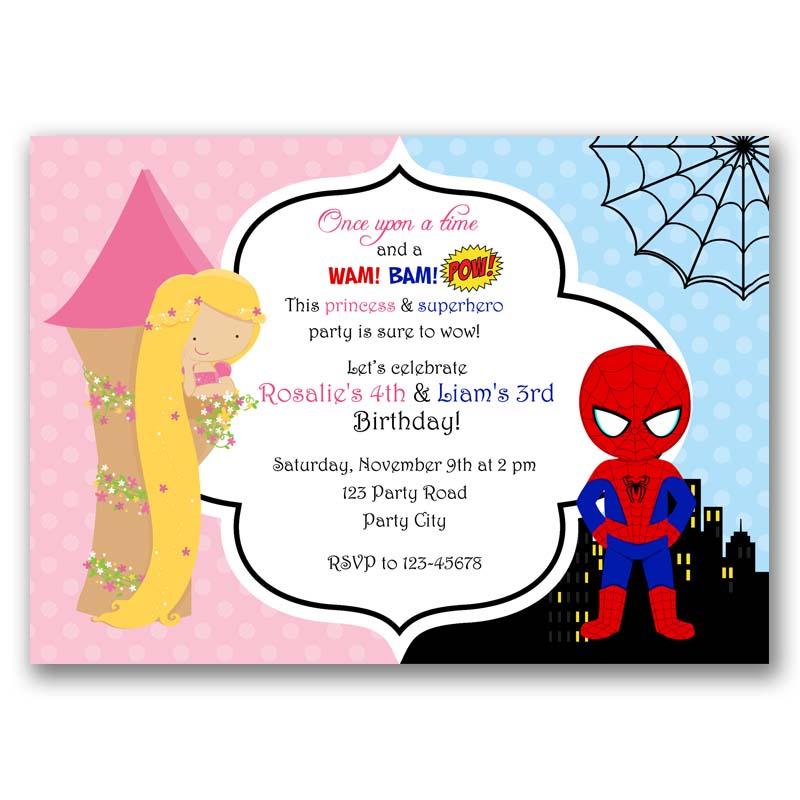 Spiderman And Rapunzel Inspired Birthday Invitation