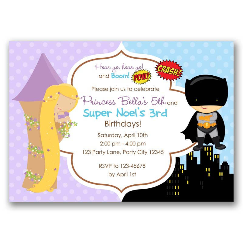 Rapunzel And Batman Inspired Birthday Invitation