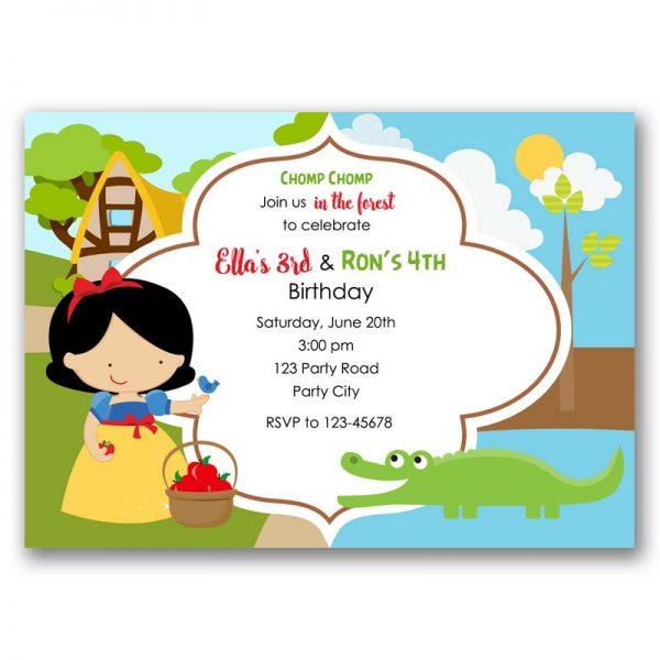 Snow White Alligator Birthday Invitation Princess Crocodile