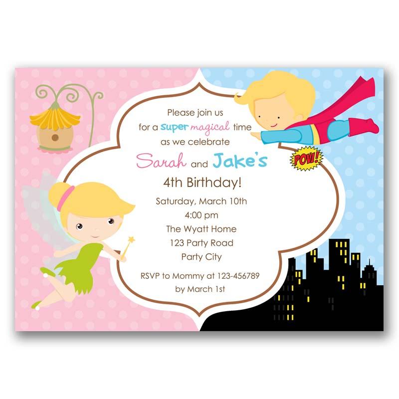 Tinkerbell Fairy And Superman Birthday Invitation Split Joint Twin