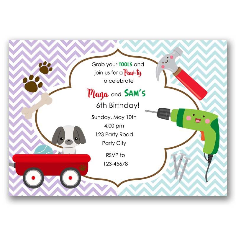 Puppy tools birthday invitation cute dog handyman tool callachic puppy tools birthday invitation filmwisefo