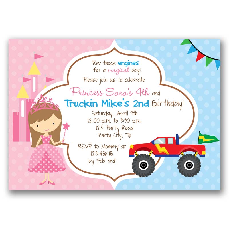 Princess And Monster Truck Birthday Invitation Split Joint Twin