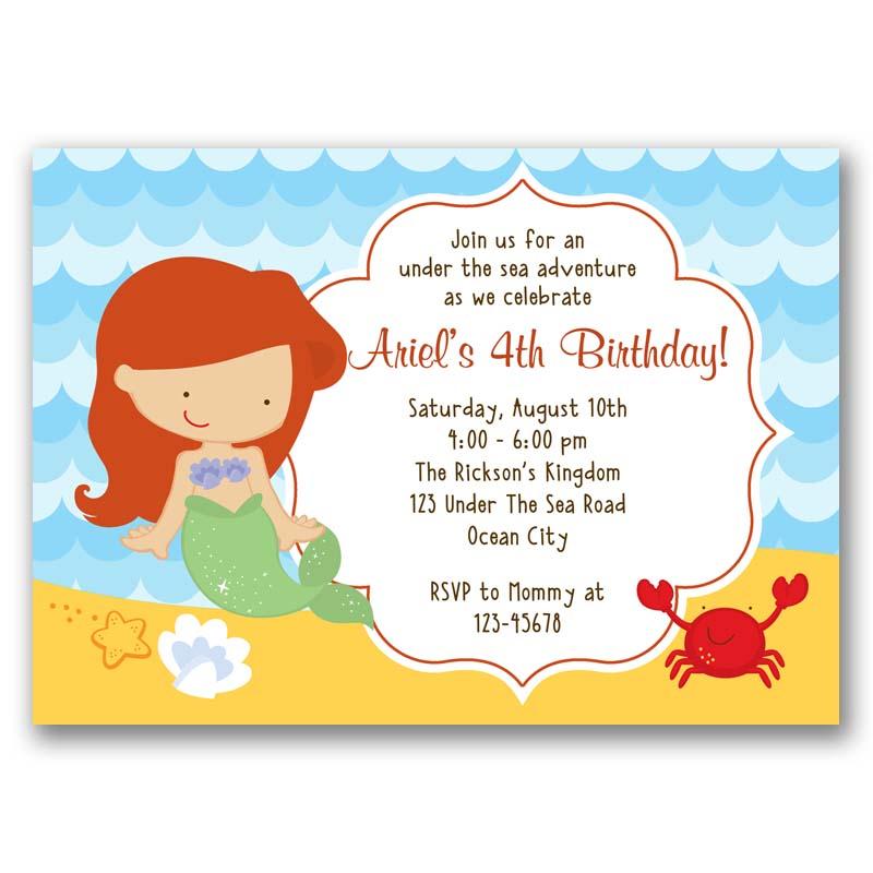 Little Mermaid Ariel Birthday Invitation Callachic