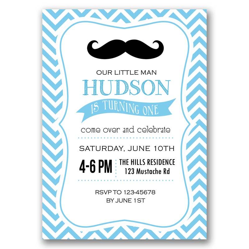 Moustache Birthday Invitation Little