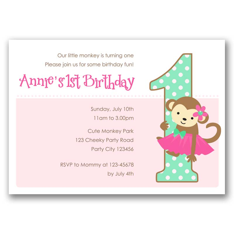 Monkey 1st Birthday Invitation