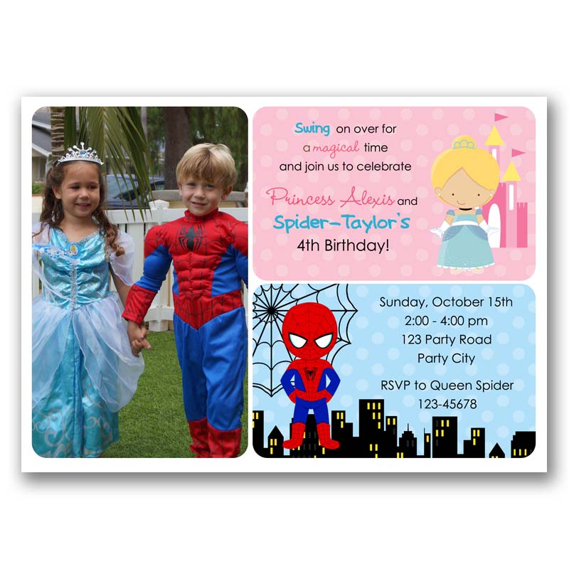 Cinderella And Spiderman Birthday Invitation