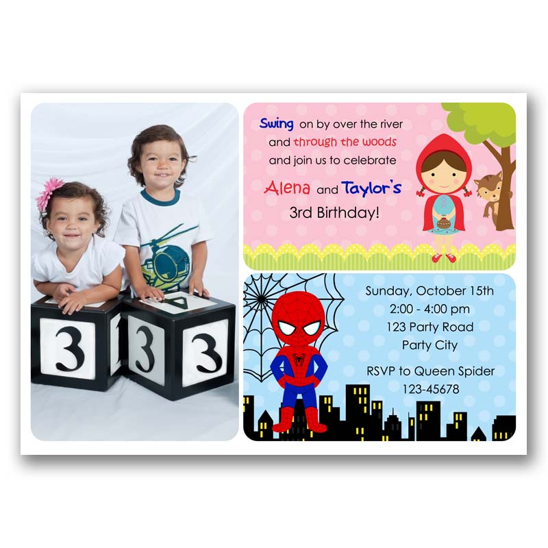 Red Riding Hood And Spiderman Birthday Invitation