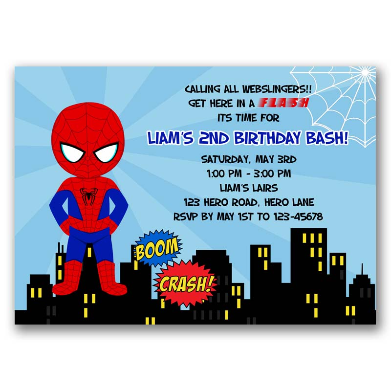 Spiderman Birthday Invitation Inspired Callachic
