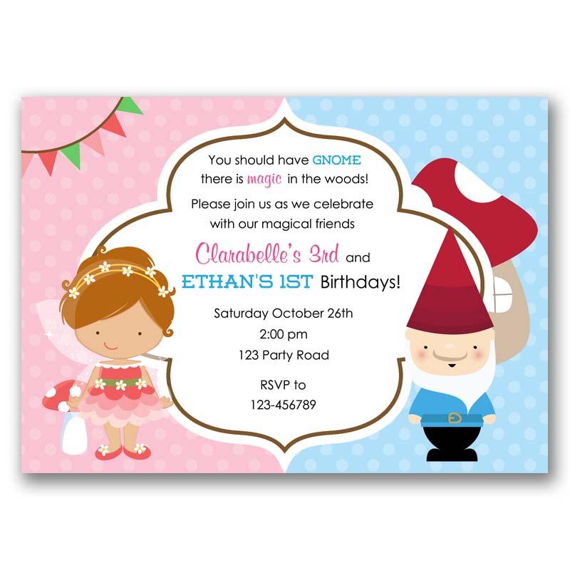 Fairy And Gnome Birthday Invitation Split Joint Twin Callachic