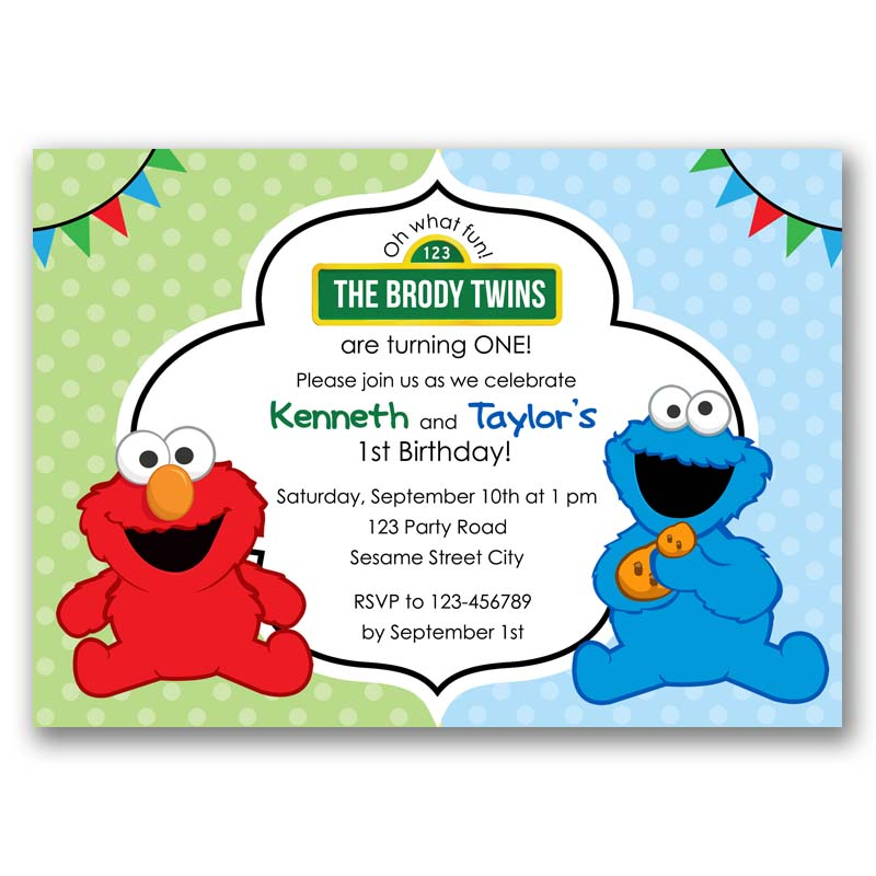 Elmo Cookie Monster Invitation Twins Joint
