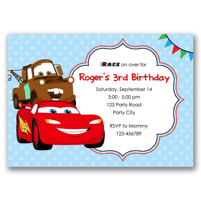 Disney Cars Birthday Invitation Lightning Mcqueen Mater Inspired