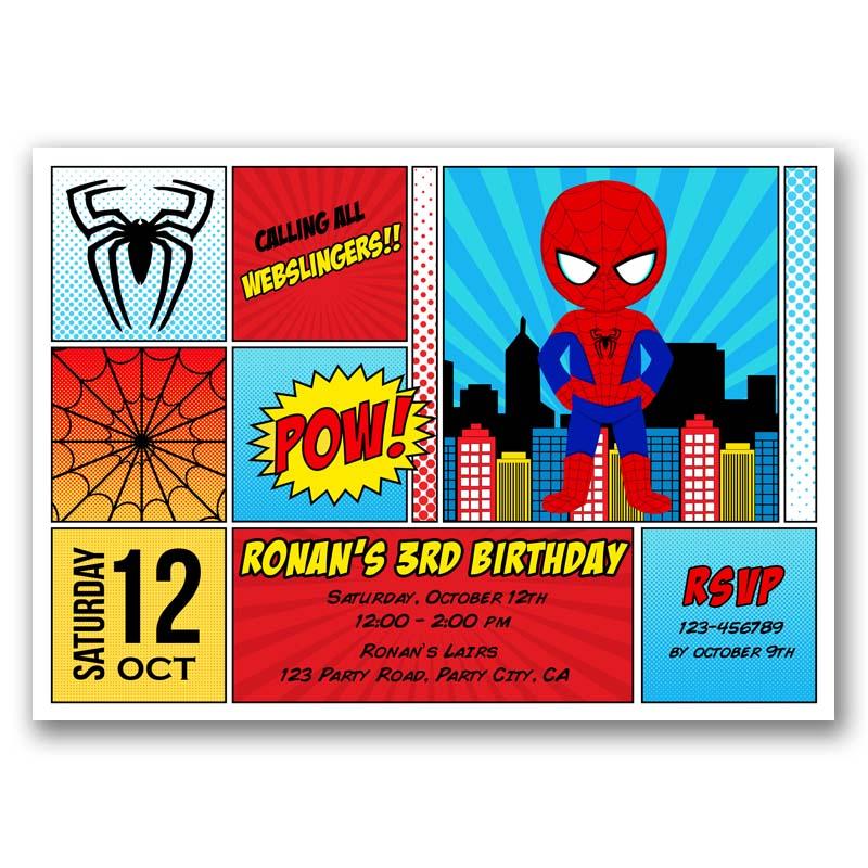 Spiderman Birthday Invitation Inspired Comic Style Callachic
