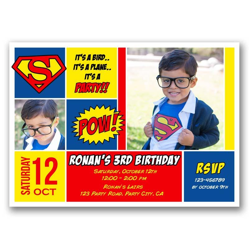 Superman Birthday Invitation With Photos Comic Style Callachic