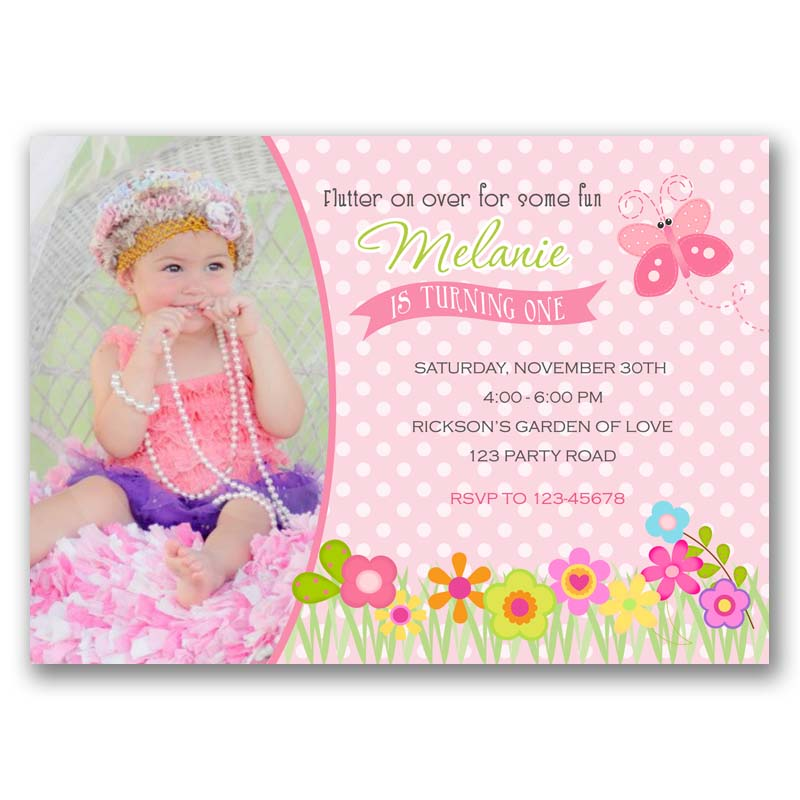 Butterfly Garden Birthday Invitation With Photo CallaChic