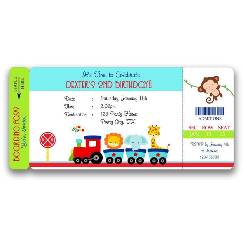 Zoo Animals Train Ticket Invitation Callachic