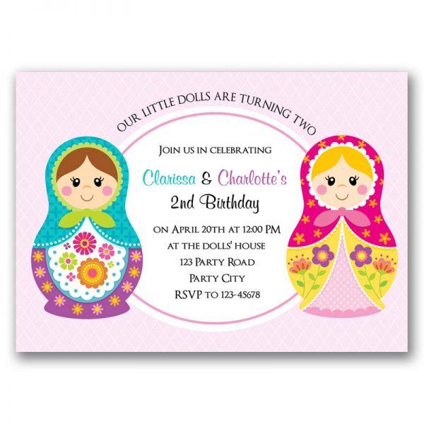 Matryoshka Russian Doll Birthday Invitation Twin