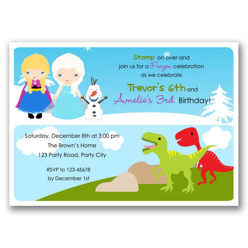 Frozen and dinosaurs birthday invitation split joint twin frozen and dinosaurs birthday invitation stopboris Image collections
