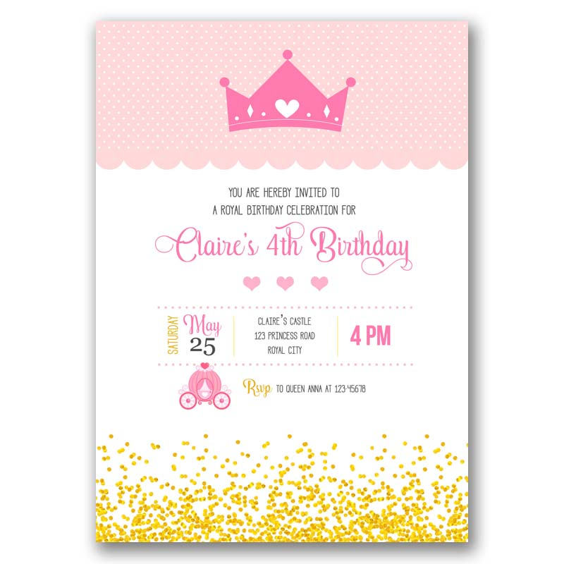 Tiara birthday invitation with crown and carriage callachic tiara birthday invitation filmwisefo