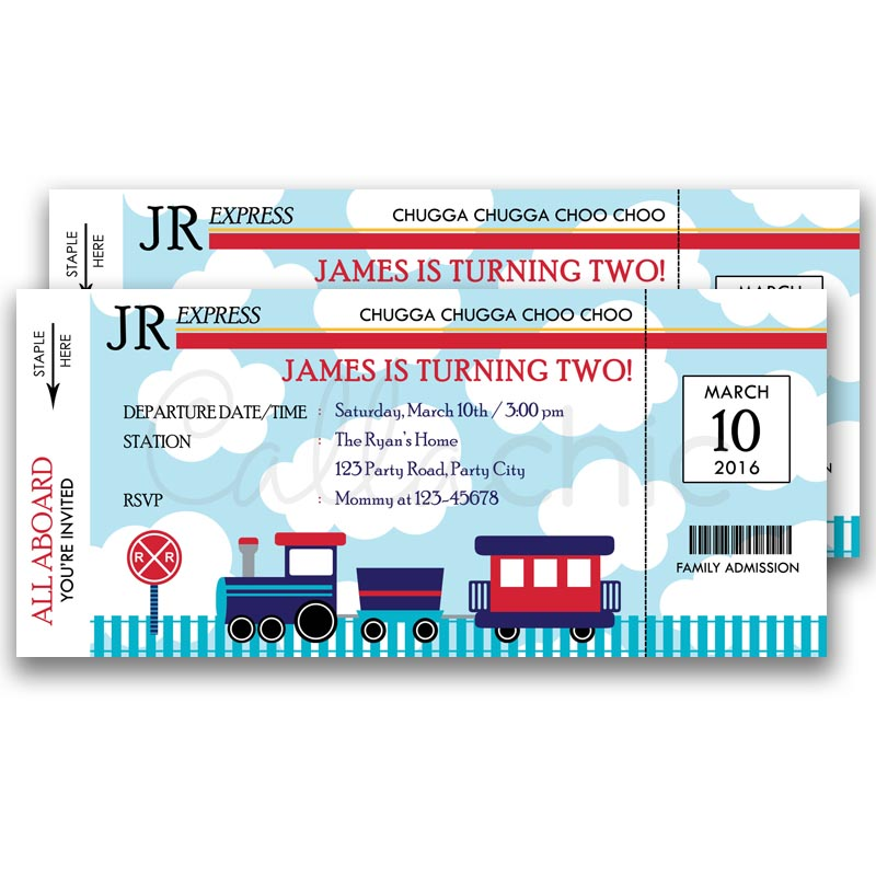 Train Ticket Invitation Navy Blue And Red Callachic
