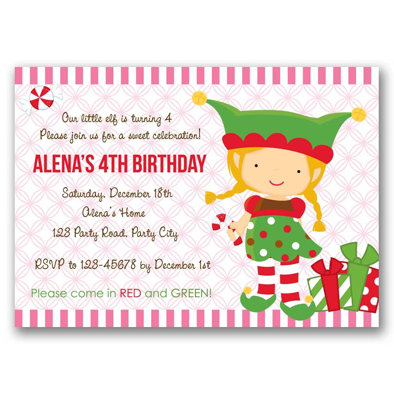 Christmas Elf Birthday Party Invitation