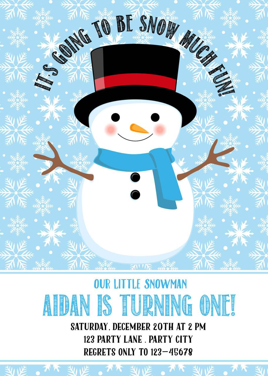 Snowman Birthday Invitation Winter Onederland Callachic