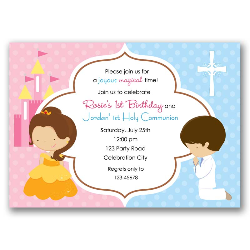 Baptism Holy Communion Princess Belle Birthday Invitation Split Joint Twin