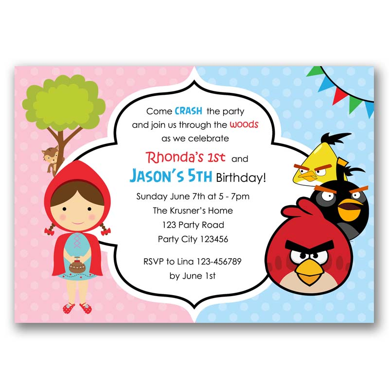 Angry Birds Red Riding Hood Birthday Invitation Split Joint Twin
