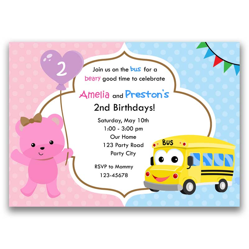 Wheels on the bus pink teddy bear birthday invitation twinsjoint wheels on the bus pink teddy bear birthday invitation filmwisefo