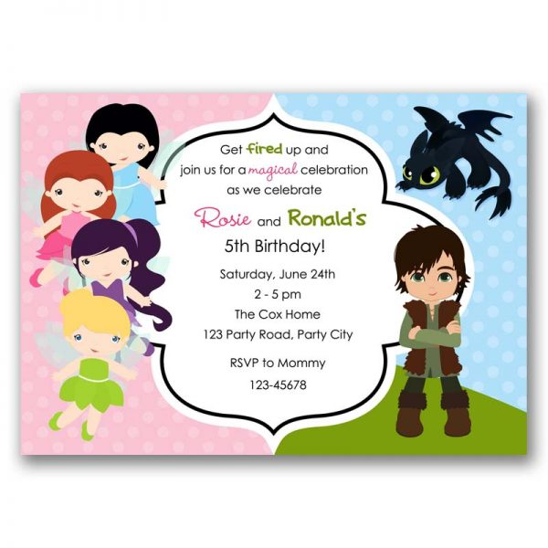 Disney Fairies How To Train Your Dragon Birthday Invitation Split Joint Twin