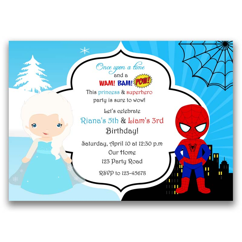Frozen Elsa And Spiderman Inspired Birthday Invitation