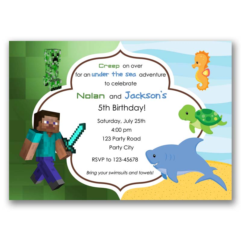 Minecraft Under The Sea Birthday Invitation